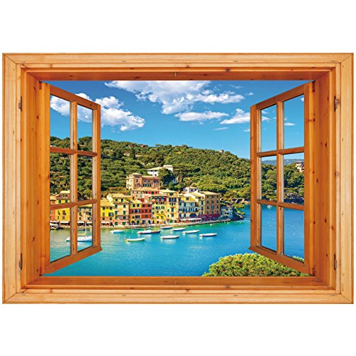 3D Depth Illusion Vinyl Wall Decal Sticker [ Italy,Portofino Landmark Aerial Panoramic View Village and Yacht Little Bay Harbor Decorative,Blue Green Yellow ] Window Frame Style Home Decor Art (Harbor Bay Vinyl)