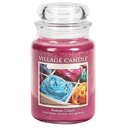 Vetro Village Candle/ /Candela i Colori Autunnali Grande Jarre 10,5/x 10,3/x 16,2/cm Rosa