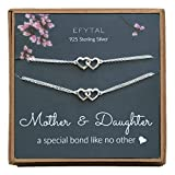 EFYTAL Mothers Day Mom Gifts, 925 Sterling Silver Double Heart Necklace & Bracelet Set for Mother & Daughter, Mom Necklaces for Women, Best Birthday Gift Ideas, Pendant Mother's Jewelry For Her