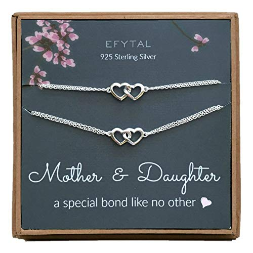 EFYTAL Mothers Day Mom Gifts, 925 Sterling Silver Double Heart Necklace & Bracelet Set for Mother & Daughter, Mom Necklaces for Women, Best Birthday Gift Ideas, Pendant Mother's Jewelry For Her ()