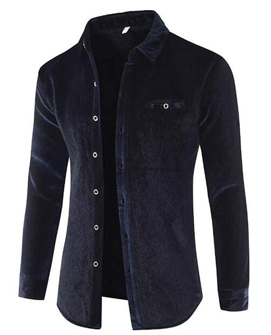 UUYUK Men Fleece Warm Thick Stylish Long Sleeve Faux Mink Button up Dress Shirts
