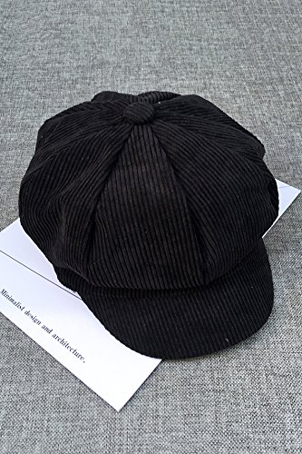 korea institute solid color corduroy hat cap women girls retro reported bonnet octagonal woman gift literary beret (black