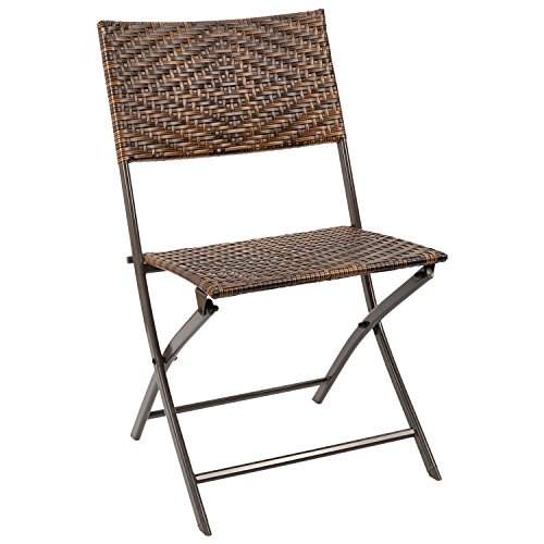 Homall Outdoor Patio Folding Sling Chair Patio Furniture Clearance Rattan Chair, Outdoor/Indoor Use Backyard Porch Garden Poolside Balcony Furniture by Homall