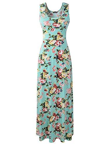 Luckco Women's Sleeveless Floral Print Causal Long Maxi Beach Tank Dresses (Medium, ()