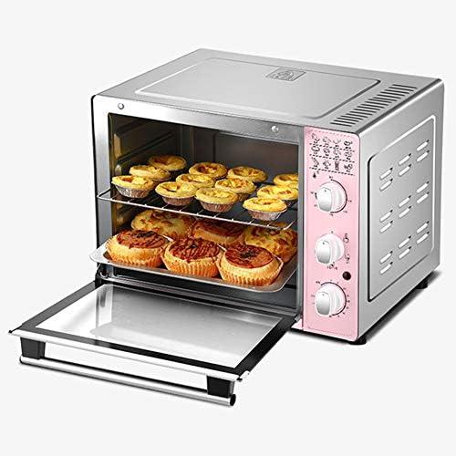 STBD-ミニオーブン、デスクトップ多機能電気オーブン、ベーキングトレイとグリルを含む4本のチューブの温度調節、1600Wの調理能力、33L、ピンク
