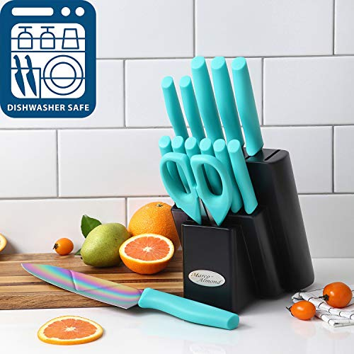DISHWASHER-SAFE-Rainbow-Titanium-Cutlery-Knife-Set-Marco-Almond-KYA27-Kitchen-Knives-Set-with-Wooden-Block-Rainbow-Titanium-CoatingChef-Quality-for-Home-Pro-Use-Best-Gift14-Piece-Turquoise