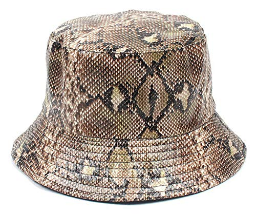 Joylife Snakeskin Print Bucket Hat Trendy PU Fisherman Hats Unisex Reversible Packable Cap (Coffee)
