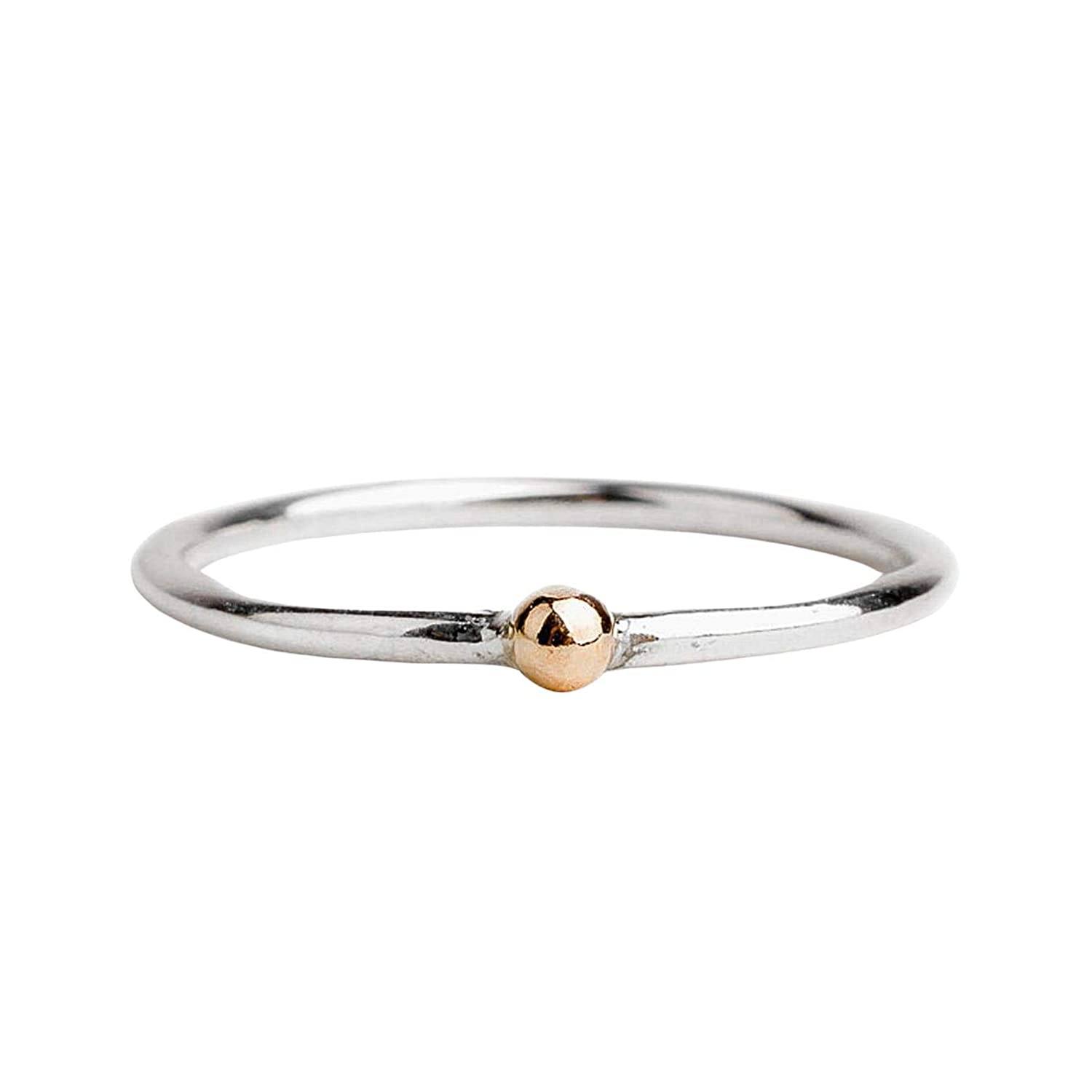 Custom Gold Dot Stackable Ring in Mixed Metal 14K Solid Yellow Gold and Sterling Silver