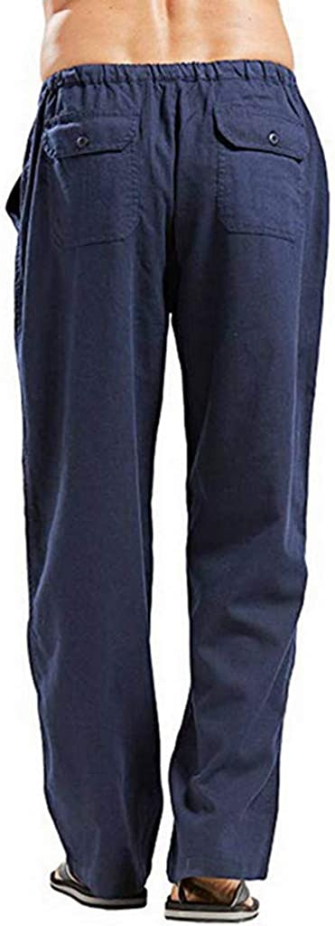 Alueeu Mens Casual Pants Lightweight Drawstring Trousers Splicing Printed Overalls Pocket Sport Work Trouser Cargo