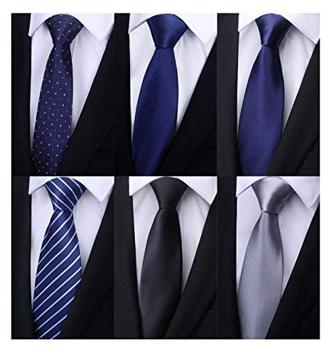 Weishang Pack of 6 Men's Classic Tie Silk Necktie Woven Jacquard Neck Ties (Set 11) ()