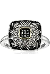 Sterling Silver and 14k Gold Black or Blue Diamond Square Ring (1/7 cttw)