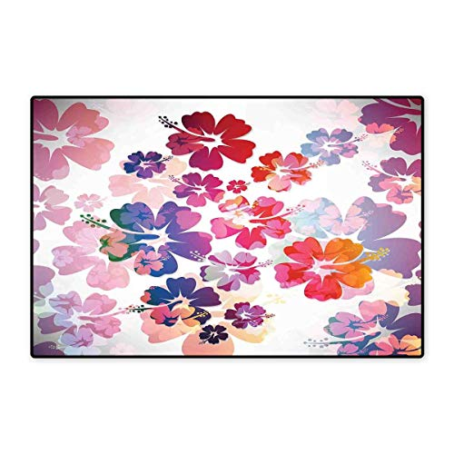 - Hawaiian Floor Mat for Kids Exotic Floral Print Island Theme Tropical Hawaii Flowers Pattern Art Print Floor Mat Pattern 32
