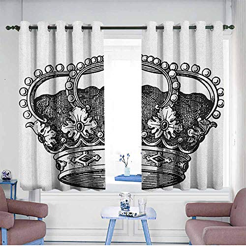HOMEDD Kids Curtains,Queen Antique Royal Crown Kingdom Emperor Ruler Czar Symbol Monarchy Authority Icon,Blackout Draperies for Bedroom,W63x45L Black and White