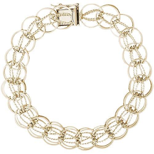 Gold Plated Fancy Charm Bracelet, 8 inch, Charm Bracelets for Women & Girls by CharmsToTreasure Bracelets