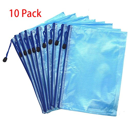 10PCS Mesh Zipper Bag Travel Pouch Warmter Office Document Cash Coin Stationery Storage Zippered Mesh File Bags Organizer