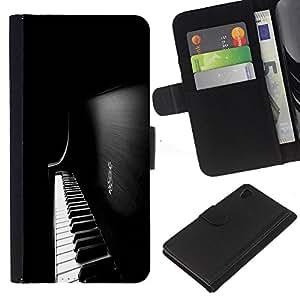 Planetar® Modelo colorido cuero carpeta tirón caso cubierta piel Holster Funda protección Para Sony Xperia Z4 / Sony Xperia Z4V / E6508 ( Piano Keys )