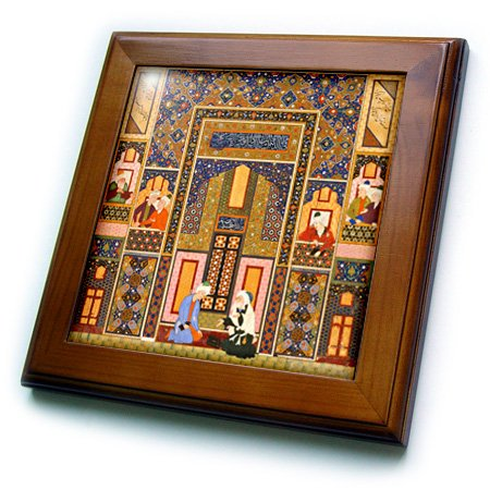 3dRose ft_162527_1 The Meeting of The Theologians-Islamic Persian Art-1540-1550 Ad by Abd Allah Musawwir-Arabian-Framed Tile Artwork, 8 by 8-Inch - Persian Decorative Arts