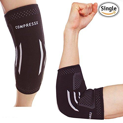 Compressx Elbow Brace Compression Sleeve-Elastic Support for Tendonitis Pain, Tennis Elbow, Golfer's Elbow, Arthritis, Bursitis, Baseball, Football, Golf, Lifting, Women ,Youth, Kids (Large)
