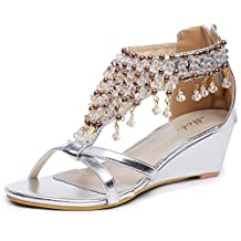 D2C Beauty Women's Gladiator High Heel Glitter Rhinestone Beaded Wedge Sandals