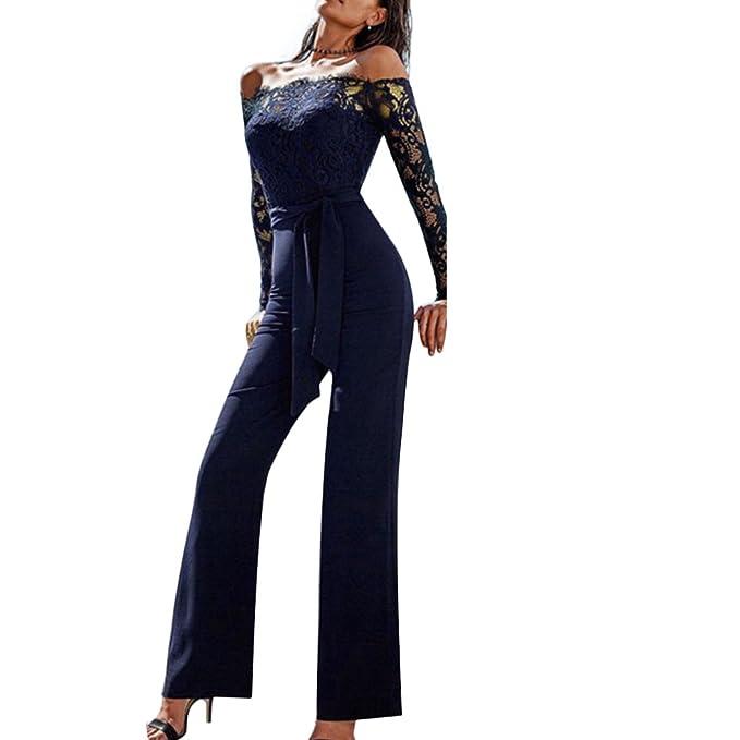 07cda2f52d4b Women Lace Off Shoulder Long Sleeve Long Pants Jumpsuit Playsuit Romper  Bodycon (Asian S