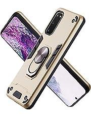 FAWUMAN Funda para Samsung Galaxy S20 Soft TPU + Duro PC Doble Parachoques Cubierta a Anillo Soporte con Soporte y Carcasa Desmontable, Funda Protectora Serie Armadura (Dorado)