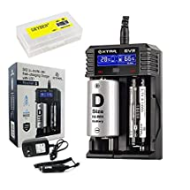 Bundle: XTAR SV2 Rocket Battery Charger with LCD and Skyben Battery Case Compatible with 10440/14500/14650/17500/17670/18350/18650/18700/22650/26650 Li-ion/IMR/INR/ICR/Ni-MH/Ni-CD Battery