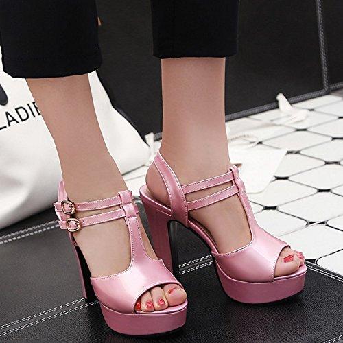 RAZAMAZA Mujer T-strap Plataforma tacon Alto Sandalias Fiesta Zapatos Rosa