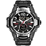 Men\s Sports Watch, Fashion Military Dual-Display Simple Digital Watch with Waterproof Function (Silver)