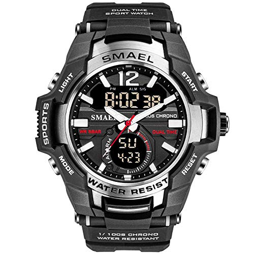 - Men's Sports Watch, Fashion Military Dual-Display Simple Digital Watch with Waterproof Function (Silver)