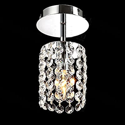 TomDa® Mini Stainless Steel Crystal Pendant Flush Mount Ceiling Chandelier for Room
