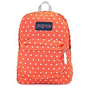 Jansport Superbreak Backpack (Tahitian orange white dots)