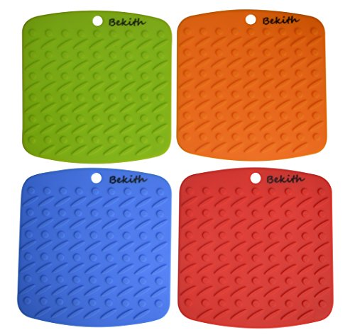 Bekith Silicone Pot Holder, Trivet Mat,jar Opener,spoon Rest and Garlic Peeler (Set of 4) Non Slip, Flexible,