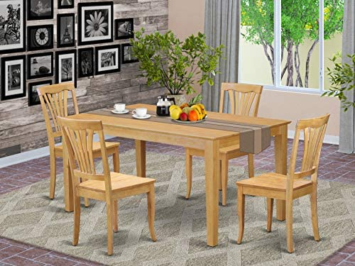 East West Furniture Dining Room Table Set 5 Pc – Oak Color Wooden Kitchen Dining Chairs Seat – Oak Finish Wood Table and Structure