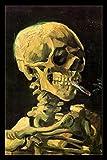 Vincent Van Gogh Skeleton Skull With Burning Cigarette Art Print Poster 24x36 inch