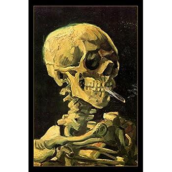 37a84a42243 Vincent Van Gogh Skeleton Skull With Burning Cigarette Art Print Poster  24x36 inch