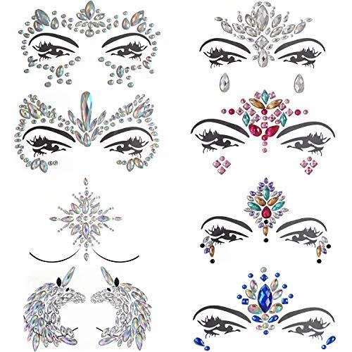 Inifty 8 Sets Women Rhinestone Mermaid Face & Breast Jewels Tattoos, Body Sticker Crystal Tears Gem Stones Bindi Temporary Stickers (Style 2)