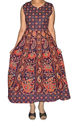 ESHOPITUDE Rajasthani Hand Block Printed Free SZ 100% Cotton Long Dress/Gown/Maxi With Extra Sleeve - Hand Block Printed Cotton Skirt