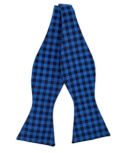 Men's Gingham Check Silk Woven Freestyle Bow Tie (Royal Blue)