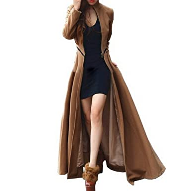 FOREVER YUNG Womenu0027s Floor Length Long Trench Winter Coat Khaki M