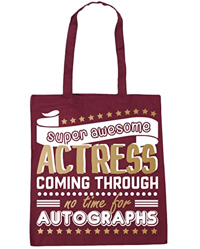 For Awesome 42cm Shopping Time Autographs Coming HippoWarehouse Through x38cm Beach Tote Burgundy Bag Gym Super No litres 10 Actress 6qn5B05