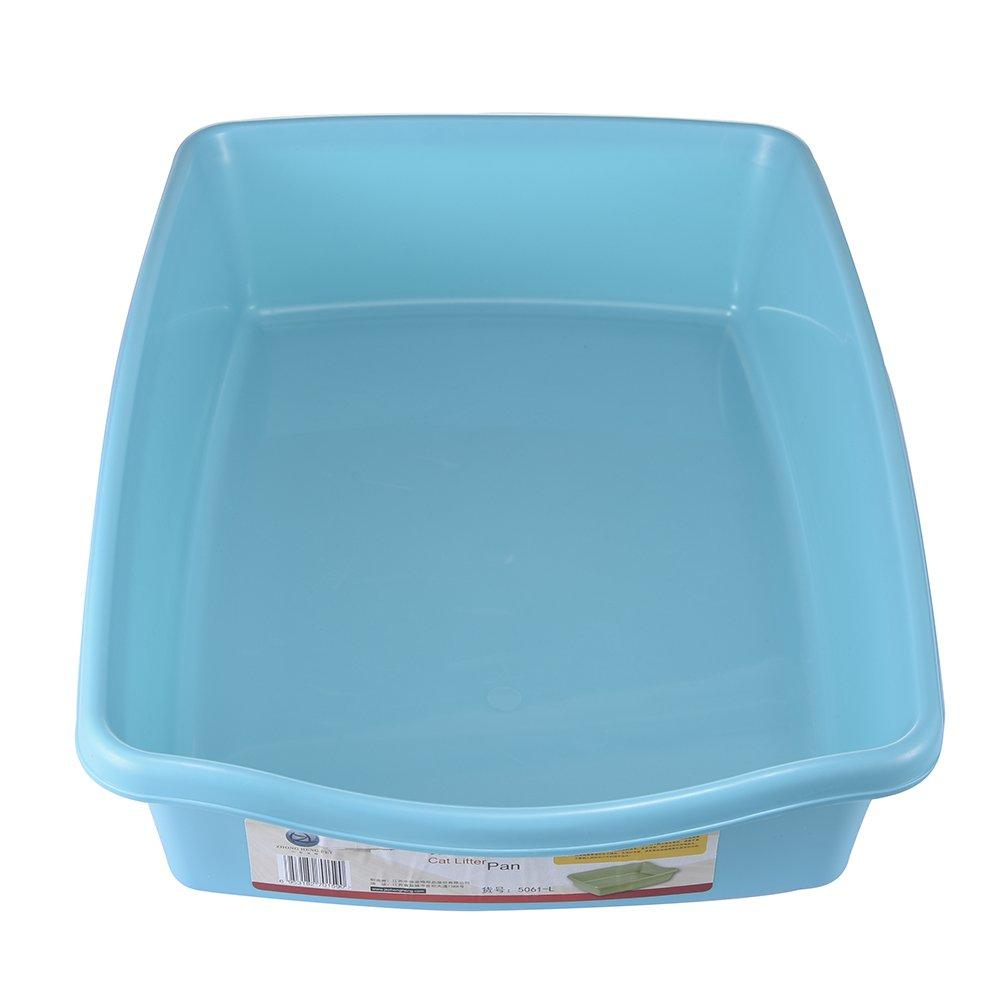 Arenero para gatos y mascotas, color azul, grande, abierto, de plástico suave, bandeja de arena con huecos: Amazon.es: Productos para mascotas