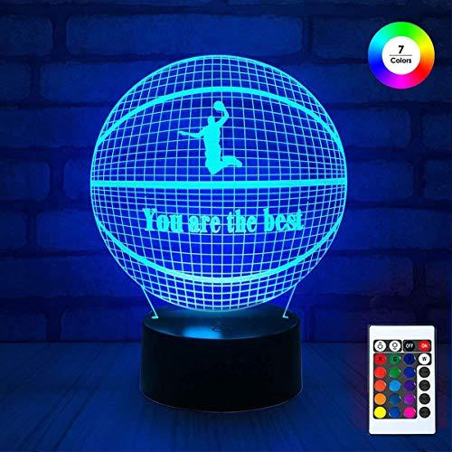 - 3D Remote Night Stand Light EpicGadget Optical Illusion Visualization LED Night Light Lamp 7 Colors Changing Remote Control Night Light Lamp Stand (Basketball)