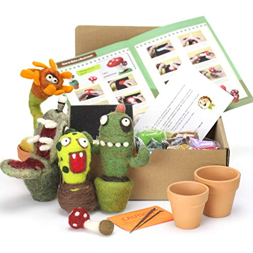 Woolbuddy Needle Felting Cactus Kit - Make 4+ Cactus, Clay pots Included, Felting Foam Mat, 4 Needles, Instruction & Videos- Great for Arts & Crafts & Easy for Beginners by Woolbuddy