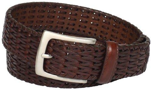 - Florsheim Men's Hand Woven Leather Belt, Cognac, 36