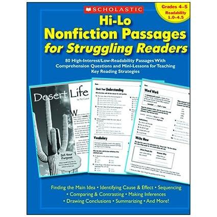 Amazon.com: Scholastic Hi-Lo Nonfiction Passages for Struggling ...