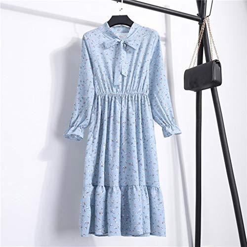 Donne Partito Di Da Polpqed Boho Dress In Chiffon Stampa Vintage Maxi Casuale Clearance Colletto Abito Blu Vestito Delle Stand Floreale Lunga Manica 0N8kXOPnw