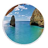 iPrint Thick Round Beach Towel Blanket,Natural Cave Decorations,Stone Gorge and Pavilion Image Asian Faith Temple Architecture Grace Scenery Decor,Multi,Multi-Purpose Beach Throw
