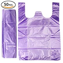 Plinrise Handle Garbage Rubbish Trash Wastebasket Bags small Size,Great for Indoor Office,living Room, Bedroon,Car,50 Counts/Rolls,Size: 16 x 24 Inch, (Purple 3 Gallon)