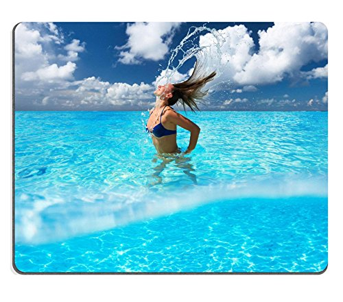 MSD Natural Rubber Gaming Mousepad Woman splashing water with her hair in the ocean Image ID 27273900