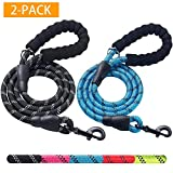 Haapaw 2 Pack 5 FT Heavy Duty Dog Leash with Comfortable Padded Handle Reflective Dog leashes for Medium Large Dogs (Black/Blue)